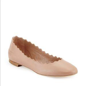 Chloe Lauren Scalloped Leather Ballet Flats Blush